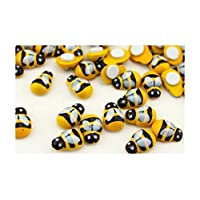 25 x Stick on Mini Ladybirds or Bumble Bess 9mm x 13mm Wooden Painted