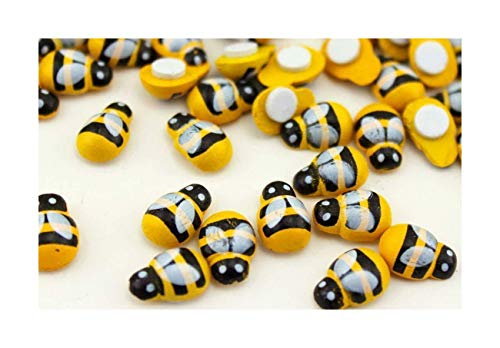 25 x Stick on Mini Ladybirds or Bumble Bess 9mm x 13mm Wooden Painted (25 x Bees)