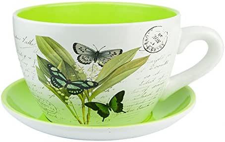Other Ceramic Large Teacup & Saucer Planters Vintage Butterfly