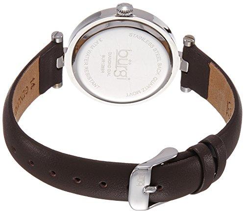 Burgi Women's BUR128BR Round Brown Sunburst Effect Dial with Embossed Flower Quartz Strap Watch