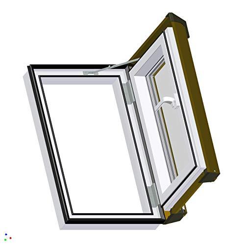 AFG - Skylight Ausstiegsfenster PVC für Warmdach Anschlag Rechts oder Links 55 x 78 mit Eindeckrahmen für Dachziegel Außenfarbe Dunkelbraun ! Dachausstieg Ausstieg