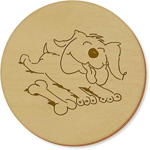 Azeeda 6 x 'Hund mit Einem Knochen' Runde Hölzerne Untersetzer (CR00127199) -