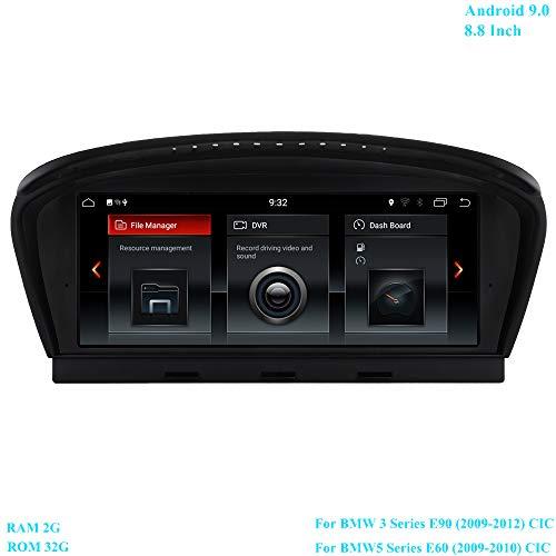 XISEDO Android 9.0 RAM 2G ROM 32G 8.8 Pollici Schermo Autoradio 6-Core Navigazione GPS supporta WiFi, Bluetooth per BMW Serie 3 E90 (2009-2012)/BMW Serie 5 E60 (2009-2010) Sistema CIC Originale