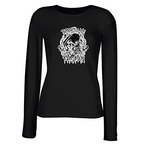 lepni.me Weibliche Langen Ärmeln T-Shirt Leihe Mir den Schmerz - Schädel Grafik (X-Large Schwarz
