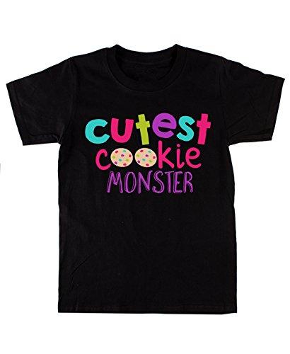 Cutest Cookie Monster Kinder Baumwolle Schwarz T-shirt (Cookie Monster Dekorationen)
