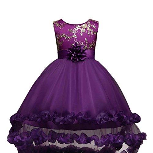 d Festlich Kleid Hochzeit Partykleid Tüll Festzug Kleidung Brautjungfer Partykleid Prinzessin Abendkleid Maxikleid Cocktailkleid Kinderkleidung (Purple, 155-160CM 12Jahre) (Kleinkind-reh-kostüm)