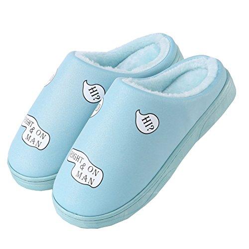 Faux cuir Imperméable Accueil pantoufles-Unisexe hiver chaud peluche chaussures bootie bleu ciel