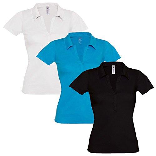 B&C - Polo - Uni - Col Cassé - Femme 3 Pack (1 of Each)