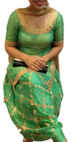 Surat4fashion Women\'s Green Cotton Silk Patiala Salwar suit set(ST110_Green_FreeSize)