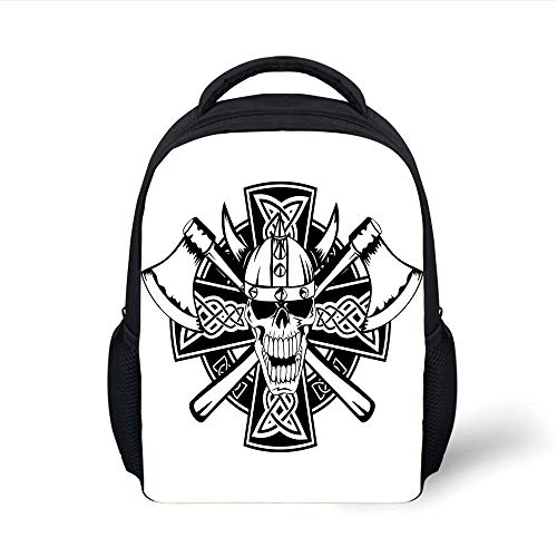 Kids School Backpack Celtic,Celtic Skull Knight with Cross Axes and Knives Medieval Europe Iron Age Graphic,Black White Plain Bookbag Travel Daypack - Handle Axe Eye