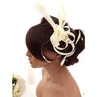 Stunning Cream Net Bow & Feather Hair Comb Slide Fascinator Bridal Wedding Races (Cream) by Ci Ci