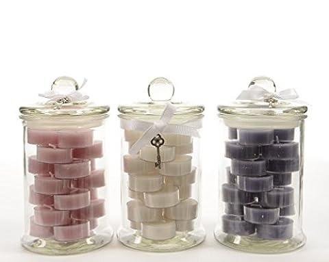 Bougies chauffe-plats parfumées dans pot en verre avec nœud–Heures Combustion:
