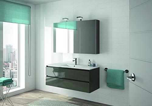 ALLIBERT Badmöbel-Set Badmöbel vormontiert Softclose-Funkition grau Glanz Spiegel Waschtisch 120