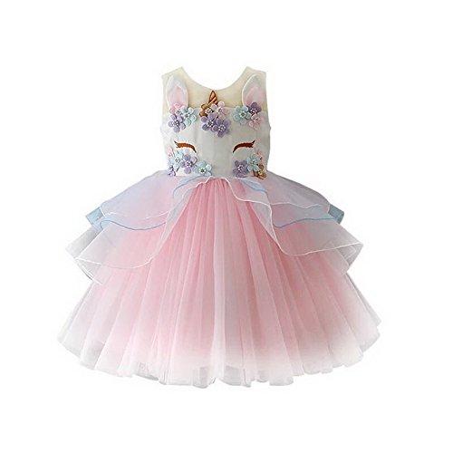 Girls Princess Unicorn Costume Tulle Tutu Dress Summer Sleeveless Costume Birthday Party Fancy up Dress