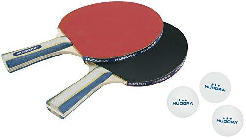 Hudora New Contest 2.0 - Set da ping-pong, bianco, 40mm, (2 racchette e 3 palline da ping pong)