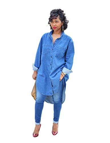 YOUJIA Frauen Übergröße Jeans Denim Shirt Hemd Revers Button-down Midi Kleider Shirtkleid (Blau, XL) (Denim-kleid Button-down)