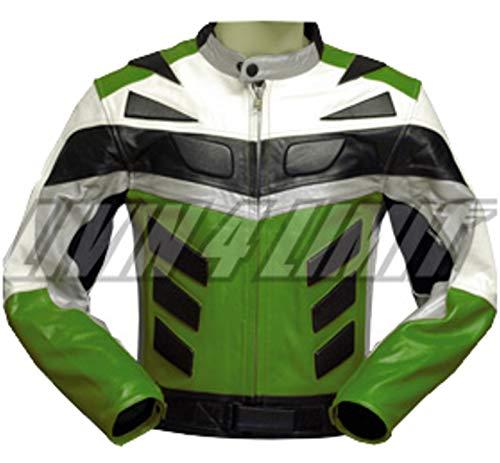 Noir 56 German Wear Veste de Moto en Cuir avec Lacets Lat/érales