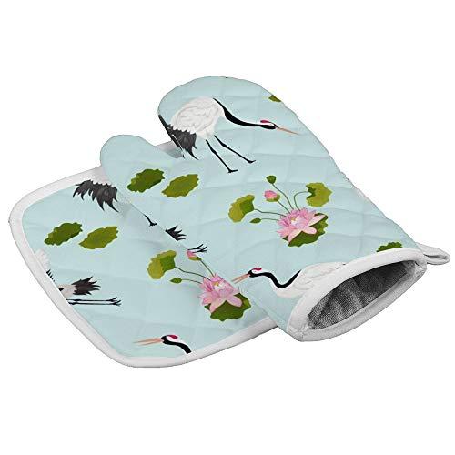 Grullas japonesas y flores profesionales resistentes al calor para horno de microondas y horno, guantes...
