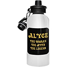Alyce Water Bottle Borraccia Bottiglia d'Acqua Sportiva personalizzata con nome - The Woman the Myth the Legend - Best Gifts Regalos for Women - Gold Black 1