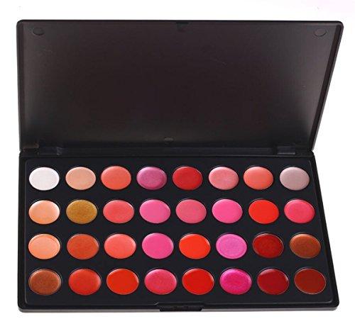 Pure Vie® 32 Couleurs Palette de Maquillage Rouge à Lèvres Lip Gloss Cosmétique Set - Convient Parfaitement pour une Utilisation Professionnelle ou à la Maison