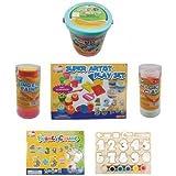 #5: Jaz Deals Clay Set 6 Pots Dough 8 Moulds 1 Roller 1 Knife 1 Brush 6 Color Paints 14