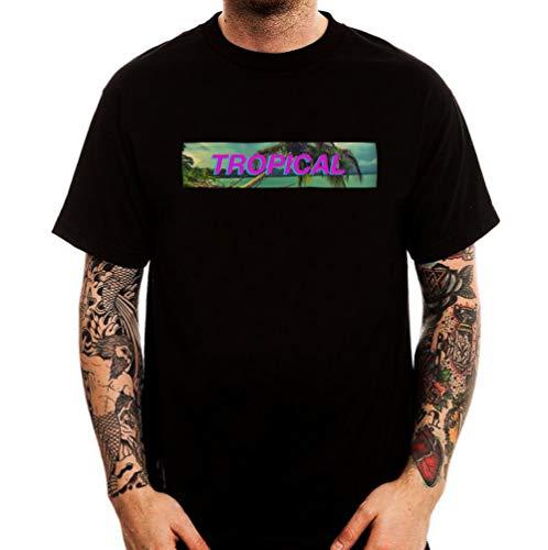 1f12a295a3f Vaporwave Aesthetic Tropical Beach Minimal Logo Printed Fashion Street tee  Shirt Men s Round Neck Short Sleeves