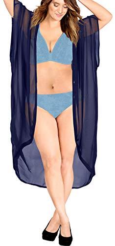 LA LEELA Damen Sommer Boho Chiffon Kimono Stil Plain Tops Jacke Cardigan Blusen Beachwear Navy blau_O981 DE Größe: 42 (L) - 52 (4XL)