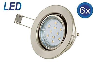 6er Set Einbauleuchte GU10 LED Einbaustrahler 3W 230V Schwenkbar Einbauspots rund matt-nickel von B.K.Licht