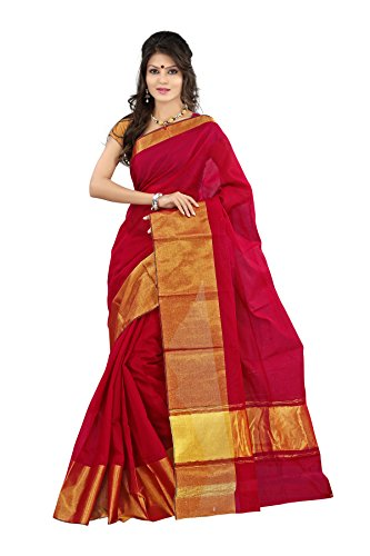 Mimosa Women's Cotton Silk Saree (Mp-Os-Marun,Red,Free Size)