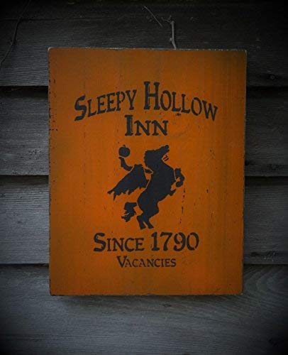 popeven Sleepy Hollow Inn Schild, Halloween-Dekoration, Wandkunst