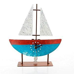 Standuhr Segelboot rot | Uhr Schiffdesign | HANDMADE | Geschenkidee | Schwarzwald Uhrwerk