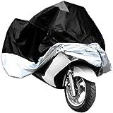 XL moto de la motocicleta resistente de agua a prueba de agua de lluvia de protección UV transpirable cubierta más grande + bolsa de almacenamiento adicional cubierta Negro de plata al aire libre