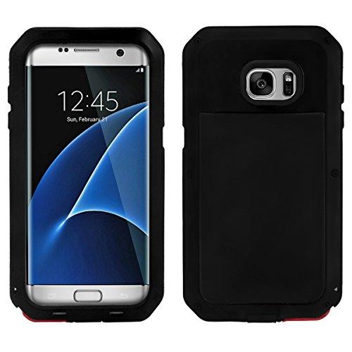 Alienwork Schutzhülle für Samsung Galaxy S7 edge geeignet für Fingerabdruck Hülle Case Bumper Stoßfest Super-Härte Metall schwarz SGS7E08-01