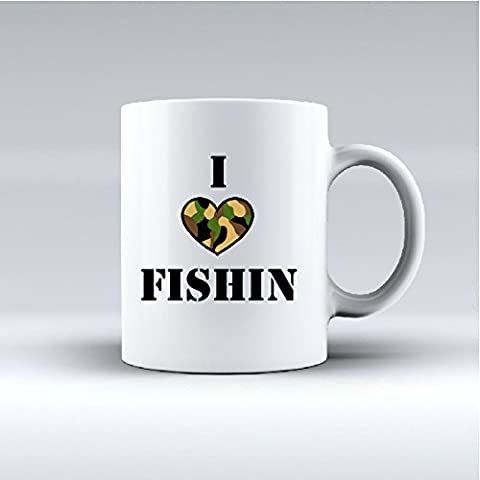 I LOVE fishing-Tazza in porcellana bone china, regalo perfetto per gli amici di pesca