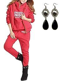 M-Queen Femmes Survêtement Suit Hoodie Coat+Vest+Pantalon 3 en 1 Automne Hiver Sportwear Jacket Outwear 3pcs