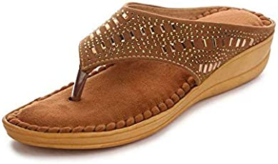 Midsole Women's Brown Embellished Comfortable Footbed Sandals/Ortho Slippers- (FT5009C)