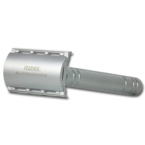 Feather AS-D2S Double Edged All Stainless Safety Razor and Stand – No Blades Included