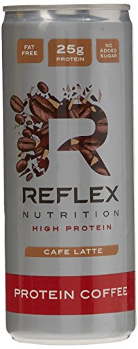 Reflex Nutrition Protein Coffee Café Latte 25g Protein 75mg Caffeine Made with Arabica Coffee Beans Fat Free No Added Sugar (12x250ML)