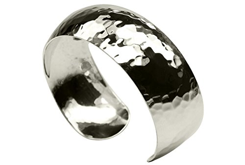 SILBERMOOS Damen Armreif Armspange gehämmert glänzend offen konvex massiv 925 Sterling Silber