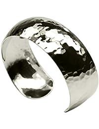 SILBERMOOS Damen Armreif Armspange gehämmert glänzend konvex massiv 925 Sterling Silber