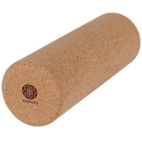 Yamkas rullo massaggio muscolare sughero | 45 cm x Ø15 cm | massaggiatore schiena | roller per pilates | atrrezzi per fisioterapia