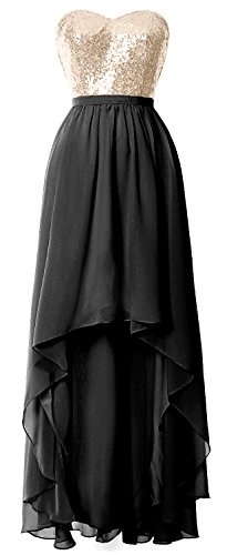 MACloth Gorgeous Hi Lo Bridesmaid Dress Sequin Chiffon Wedding Party Formal Gown Champagne-Black