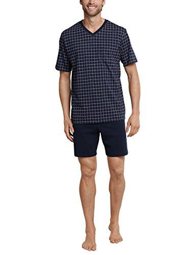 Schiesser Herren Anzug Kurz Zweiteiliger Schlafanzug, Blau (Dunkelblau 803), Medium (Herstellergröße: 050)