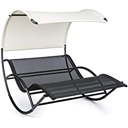Blumfeldt The Big Easy • Chaise Longue à Bascule • Ergonomique • Résistant aux intempéries • Toit imperméable • Protection UV • Aluminium • Usage intérieur et extérieur • Max. 350 kg • Noir