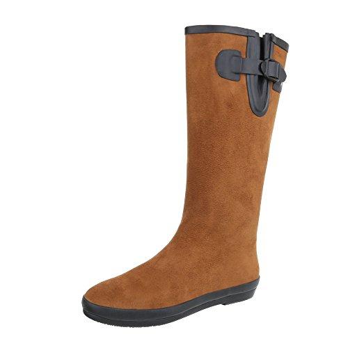 Ital-Design Gummistiefel Gummi Damen-Schuhe Gummistiefel Moderne Stiefel Camel, Gr 39, 89-52- (Camel Damen Flache Stiefel)