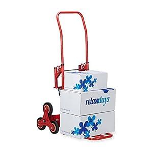 414aNOi3SaL. SS300  - Relaxdays, Rojo, 124,5 x 52 x 77 cm Carretilla de Mano para Escaleras hasta 150 Kg, Metal