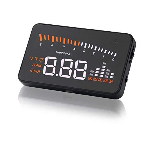 LQZHP Auto HUD Head Up Display Fahrzeug OBD2 Auto Tachometer Windschutzscheibe Projektor Fahrgeschwindigkeit Alarm Spannung MPH KM/H Display