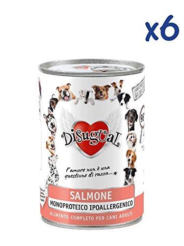 Disugual Monoproteico al salmone (6x400g) - Cibo umido ipoallergenico al salmone, per cani adulti