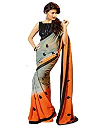 Glory Sarees Women's Chiffon Saree(glory102grey_grey_orange)