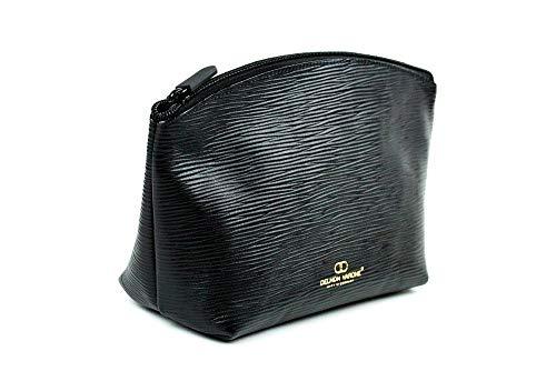 Kosmetiktasche Gross (25x15x9) Premium Leder Manhattan schwarz mit Paglia Narbung -
